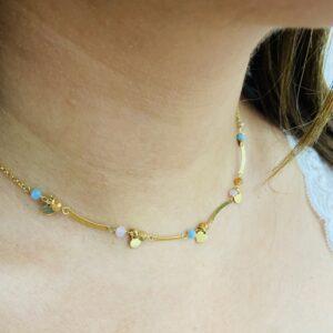 Collana con Cuori e Perle Colorate