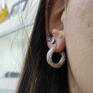 Torchon Hoops in Argento925